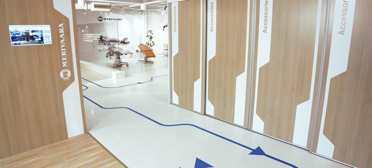 Messua interior design - Merivaara Showroom floor sticker